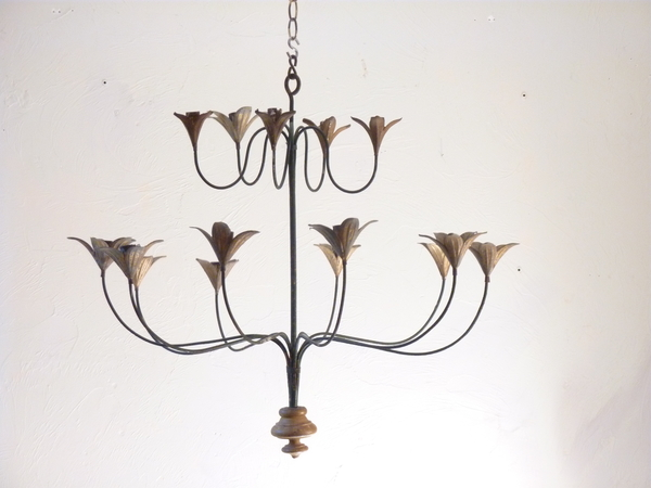 Iron and Tole Chandelier